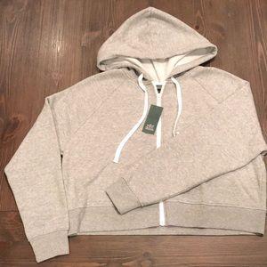 Wild Fable Cropped grey zip up fleece hoodie